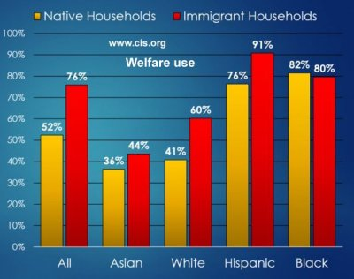 Welfare use immigration by origin.