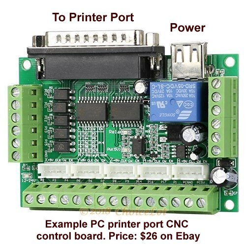 PC printer port to CNC control boards.